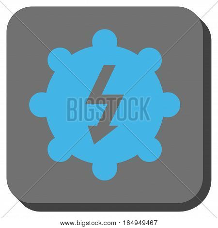 Electricity Cog Wheel interface icon. Vector pictogram style is a flat symbol centered in a rounded square button blue and gray colors.
