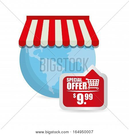 special offer online globe shop tag price vector illustraton eps 10