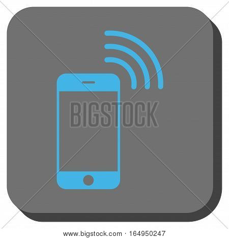 Smartphone Call toolbar button. Vector pictogram style is a flat symbol inside a rounded square button blue and gray colors.