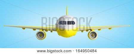 White And Yelow Airplane 3D Rendering On Blue Background
