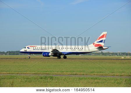 Amsterdam the Netherlands - June 9th 2016:G-LCYN BA CityFlyer Embraer ERJ-190SR takeoff from Polderbaan runway destination London United Kingdom