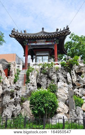 Garden inside Shenyang Imperial Palace Mukden Palace, Shenyang, Liaoning Province, China. Shenyang Imperial Palace is UNESCO world heritage site built in 400 years ago.