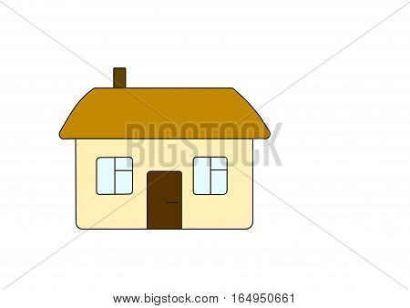 house, building, window, door, roof, beige, brown, walls, single-storey, private,human, habitation, live,  family, people, town, new, vector, property, symbol, estate, element, village,  modern, icon, illustration, design, architecture, home, real,  backg