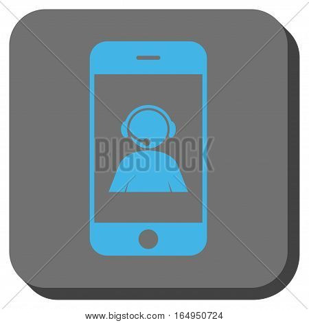 Smartphone Operator Contact Portrait rounded icon. Vector pictograph style is a flat symbol on a rounded square button blue and gray colors.