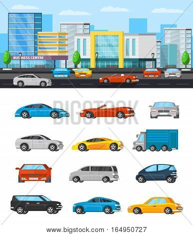 Modern vehicles composition with wagon and colorful cars of different construction vector illustration