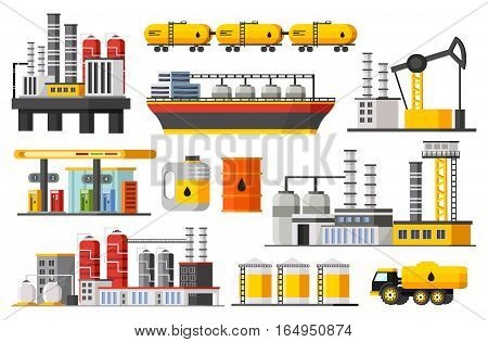 Oil industry elements collection with factories drilling rig wagons ship truck  barrels gas station isolated vector illustration