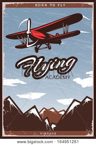 Colorful aircraft poster with flying biplane sky clouds and mountains in vintage style vector illustration