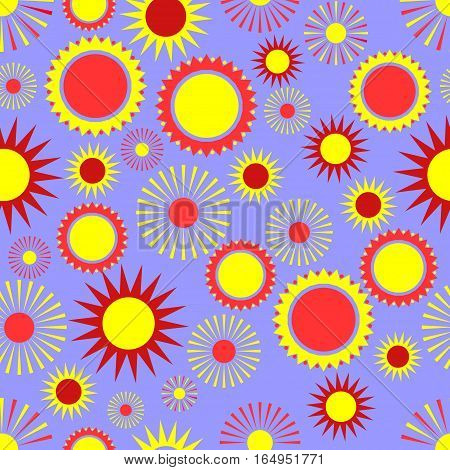 seamless pattern, sun on a blue background, abstract