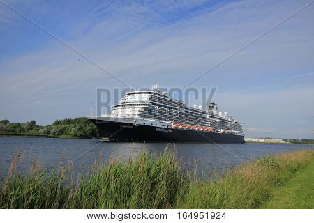 Velsen the Netherlands - June 19th 2016: MS Koningsdam. MS Koningsdam is a cruise ship operated by Holland America Line. It was cristened on may 29th 2016 in Rotterdam.