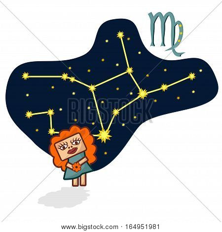 Cartoon Zodiac signs. Vector illustration of the Virgo with a rectangular faces. A schematic arrangement of stars in the constellation Virgo