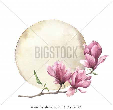Watercolor card with magnolia and old paper. Hand painted paper texture with floral design isolated on white background. Illustration for design, print