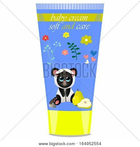 High quality original trendy vector Baby cream tube with kids design and cat in panda suit, pear illustration