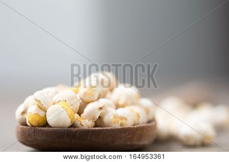 Chickpeas On A Wood Spoon