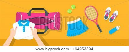 Fitness flat vector background. Woman puts tennis stuff for training into sport bag. Top view horizontal banner. Polo shirt skirt sneakers tennis racket and balls. Healthy lifestyle concept.