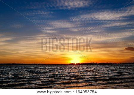 A beautiful Oklahoma sunset over a lake.