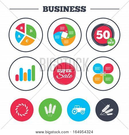 Business pie chart. Growth graph. Agricultural icons. Wheat corn or Gluten free signs symbols. Tractor machinery. Super sale and discount buttons. Vector