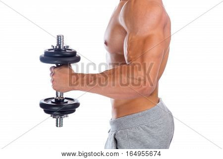 Power Strong Muscular Bodybuilder Bodybuilding Muscles Biceps Arm Training Dumbbell Isolated