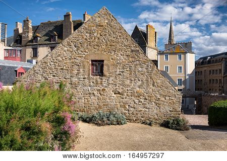 Lateral stone wall of the Quebec house, Saint-Malo, Bretagne, France