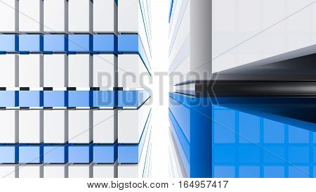 Blue and white futuristic architecture background. Abstract architectural building of the future. 3D rendering.