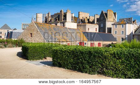 Yard of a Quebec house and green garden, Saint-Malo, Bretagne, France
