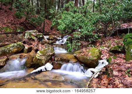 Fast Flowing Mountain Stream In The Allegheny Mountains Of Pennsylvania