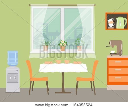 Kitchen in orange color. There is a table, two chairs, a water cooler, shelves, a coffee machine, a window with flowers and other objects in the picture. Vector illustration.