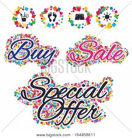 Sale confetti labels and banners. Beach holidays icons. Cocktail, human footprints and swimming trunks signs. Summer sun symbol. Special offer sticker. Vector