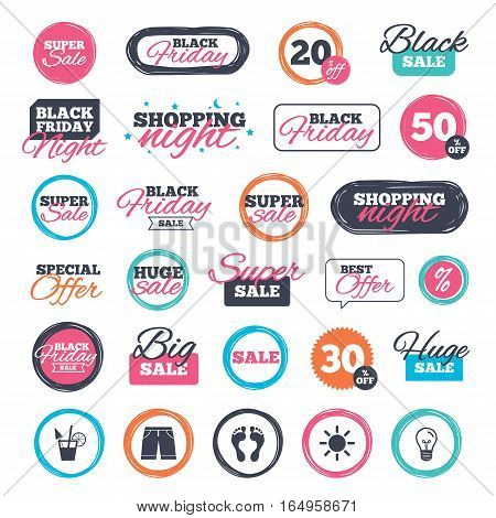 Sale shopping stickers and banners. Beach holidays icons. Cocktail, human footprints and swimming trunks signs. Summer sun symbol. Website badges. Black friday. Vector