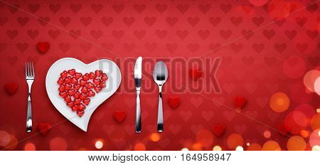 Valentines Day Dinner - heart dish, fork, knife and spoon