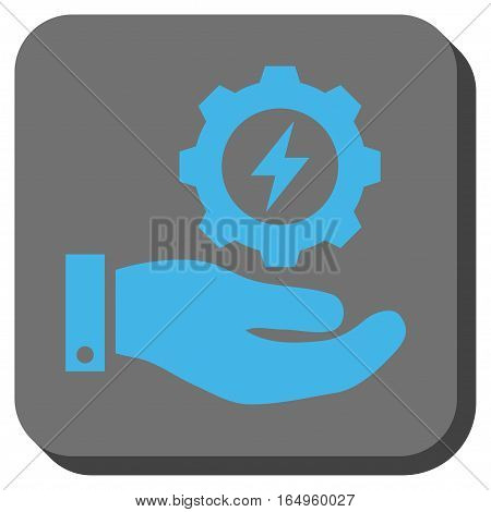 Electricity Gear Service Hand rounded icon. Vector pictogram style is a flat symbol in a rounded square button blue and gray colors.