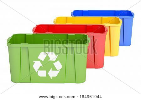 Colored recycling bins 3D rendering isolated on white background