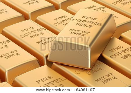 set of copper ingots background 3D rendering