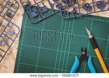 Hobby background assembling the plastic model kits