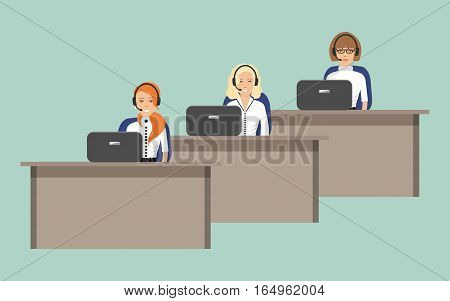 Web banner of call center workers. Young women in headphones sitting at the tables on a green background. It can be used for websites. Vector illustration.