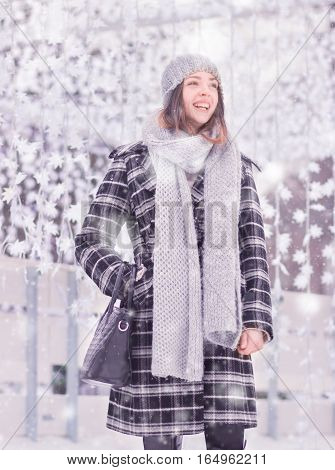 One Young Woman, Coat Scarf Hat Winter Laughing