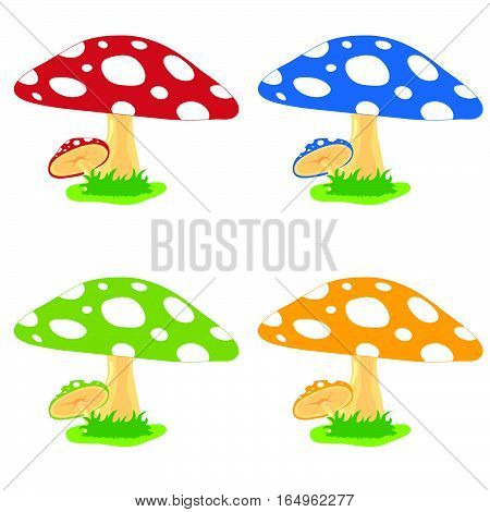 Mushroom Cartoon Food Fresh Set Illustration