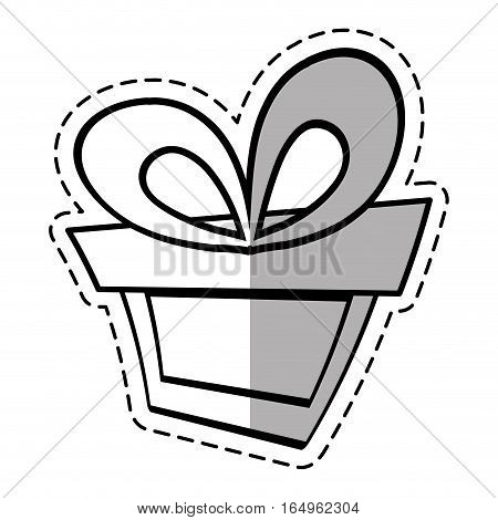 gift box ribbon birthday event linea shadow vector illustration eps 10
