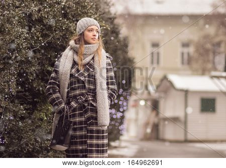 Young Woman Walking Winter Snow Snowing