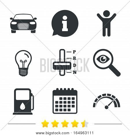 Transport icons. Car tachometer and automatic transmission symbols. Petrol or Gas station sign. Information, light bulb and calendar icons. Investigate magnifier. Vector