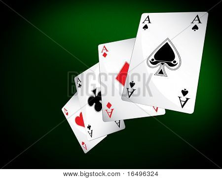 poker table with 4 aces