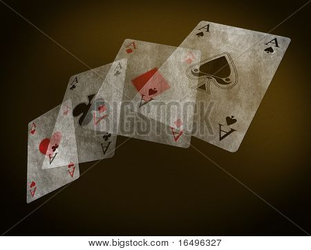poker table with playing cards - vintage
