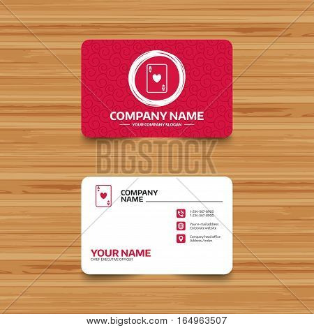 Business card template with texture. Casino sign icon. Playing card symbol. Ace of hearts. Phone, web and location icons. Visiting card  Vector