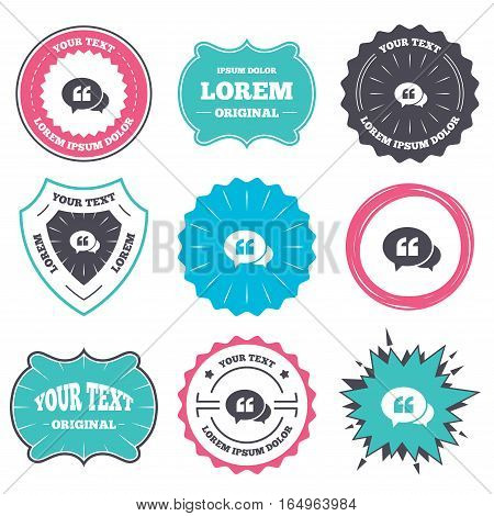Label and badge templates. Chat Quote sign icon. Quotation mark symbol. Double quotes at the beginning of words. Retro style banners, emblems. Vector