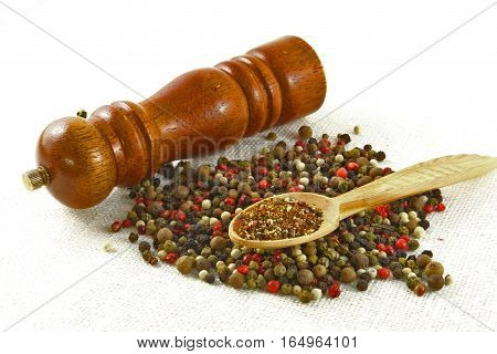 Spices and herbs in wood bowls. Food and cuisine ingredients. Colorful natural additives.