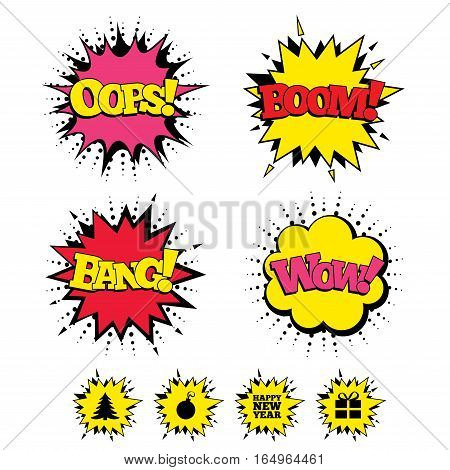 Comic Boom, Wow, Oops sound effects. Happy new year icon. Christmas tree and gift box sign symbols. Speech bubbles in pop art. Vector