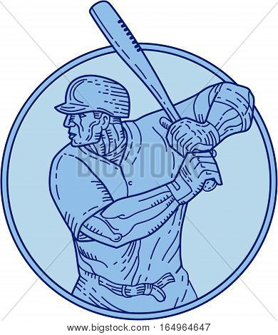Mono line style illustration of an american baseball player batter hitter holding bat batting viewed from the side set inside circle on isolated background.