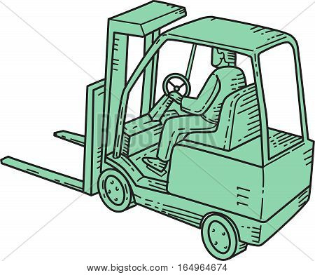 Mono line style illustration of a forklift truck operator riding driving forklift viewed from the top set on isolated white background.