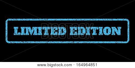 Light Blue rubber seal stamp with Limited Edition text. Vector caption inside rounded rectangular frame. Grunge design and unclean texture for watermark labels.