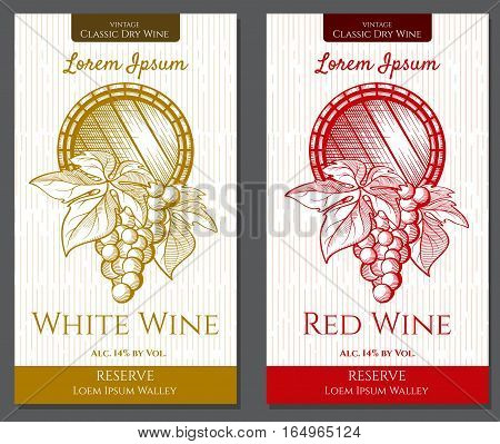 Vector Graphic pattern of labels for wine bottles. Figure vector formed in graphic style. It can be used for decoration of bottles of red and white wine. In the center is stylized wine barrel with a bunch of grapes on a white background