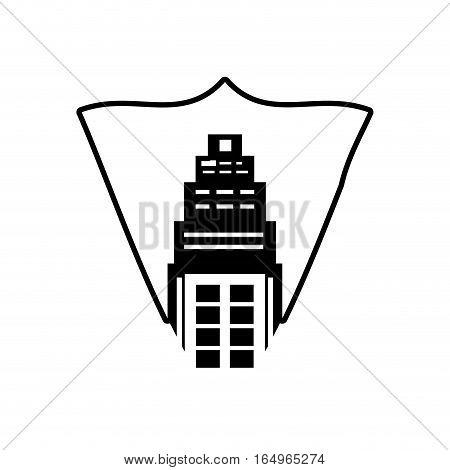 real estate building tower stamp outline vector illustration eps 10